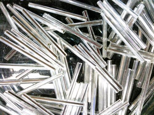 Vtg 200 SILVER LINED CRYSTAL BUGLES 30mm GLASS  #072513e
