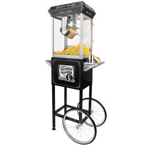 FunTime-4oz-Black-Popcorn-Popper-Machine-Maker-Cart-Vintage-Style-FT454CB
