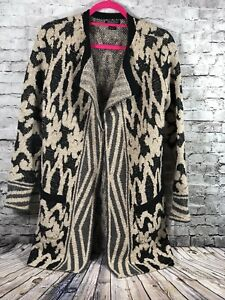 d5c6f59b50a Lucky Brand Black Beige Patterned Long Chunky Cardigan Duster Womens ...