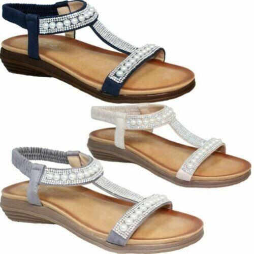 en rembourrᄄᆭes Sandales perles laniᄄᄄres avec stretch en Jlh078 similicuir 4Rj3ALq5
