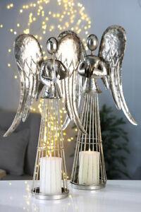 Casablanca-XL-Leuchter-Engel-H68cm-Windlicht-Kerzenleuchter-Weihnachten-silber