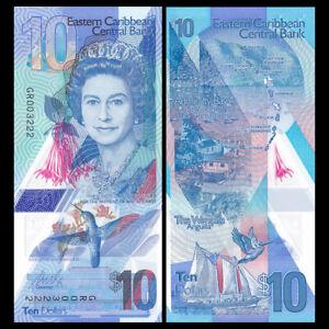 East-Caribbean-10-Dollars-2019-P-New-New-Design-Polymer-QE-II-UNC