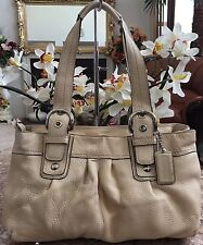 Coach Soho Pleated Cream/Ivory Leather Satchel Shoulder Handbag Purse F13732 EUC