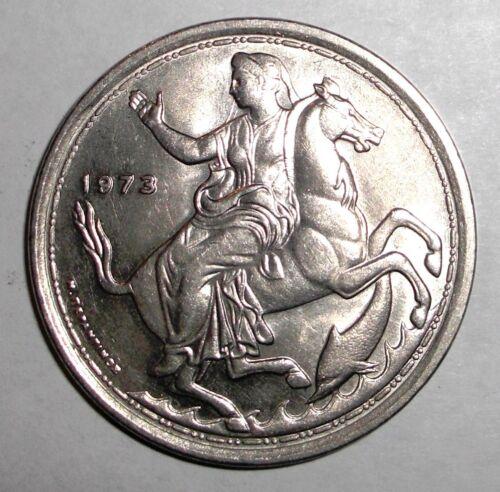 Moon Goddess Selini on Horse 1973 Greece 20 drachmai animal wildlife coin