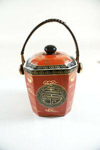 Teedose-50er-Jahre-aus-Porzellan-mit-Henkelgriff-Deckeldose-Porzellandose