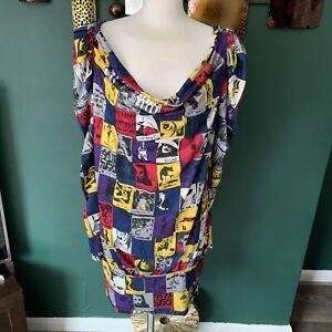 MIss-Sixty-Jersey-Dress-Photo-Shoot-Newspaper-Print-Unusual-Artsy-Mini-Dress-M