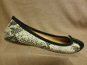J-Crew-Women-039-s-Shoes-Black-Beige-Snake-Print-Flats-Slip-On-Bow-Loafers-Size-7-5