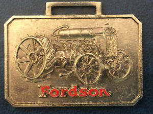 Rare Great Condition Vintage Fordson Tractor Nickel Metal Watch Fob Cloisonné