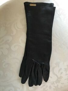 Dolce-And-Gabbana-Black-Leather-Long-Gloves-Size-6-1-2