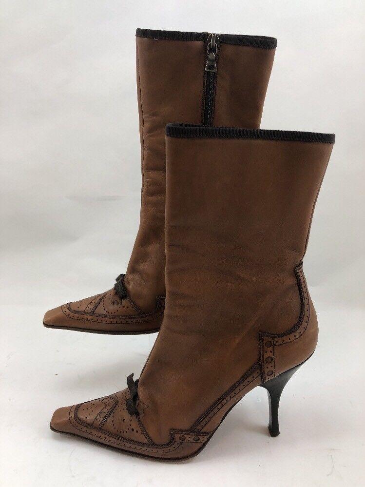 PRADA Vero Heels Cuoio Women's Brown Mid-Calf Heels Vero - Size 37 4587d4