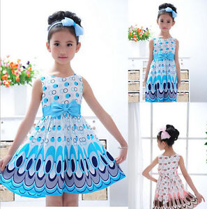 1pc-New-Kids-Girl-Baby-Children-Peacock-Chiffon-Dresses-Clothing-Set-Outfit-2-7Y
