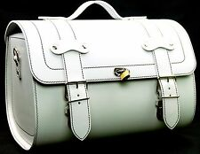 Medium Leather Top Case Roll Bag Vespa Primavera PX LXV GTS GTV White
