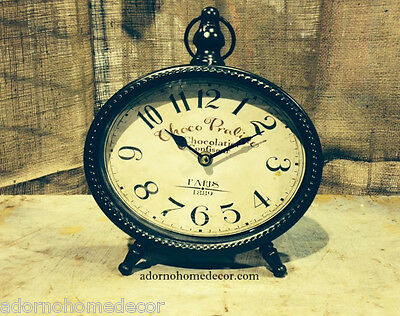 Brown TABLE CLOCK Paris SHABBY French VINTAGE Mantle CHIC Decor Cottage
