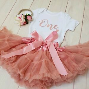 7d11c27dc8270 Image is loading 1st-Birthday-Outfit-Baby-Girls-Frilly-Tutu-Dress-