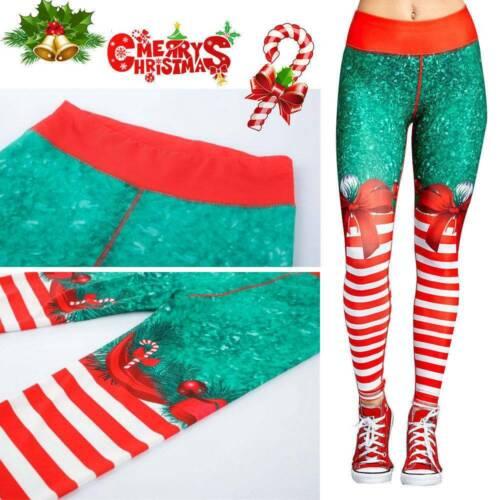 Women Christmas Xmas Yoga Leggings Fitness Sports Gym Running Workout Pants New