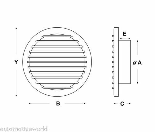 Round Air Vent Grille with Fly Screen Mesh and Collar Circle Ducting Cover OW