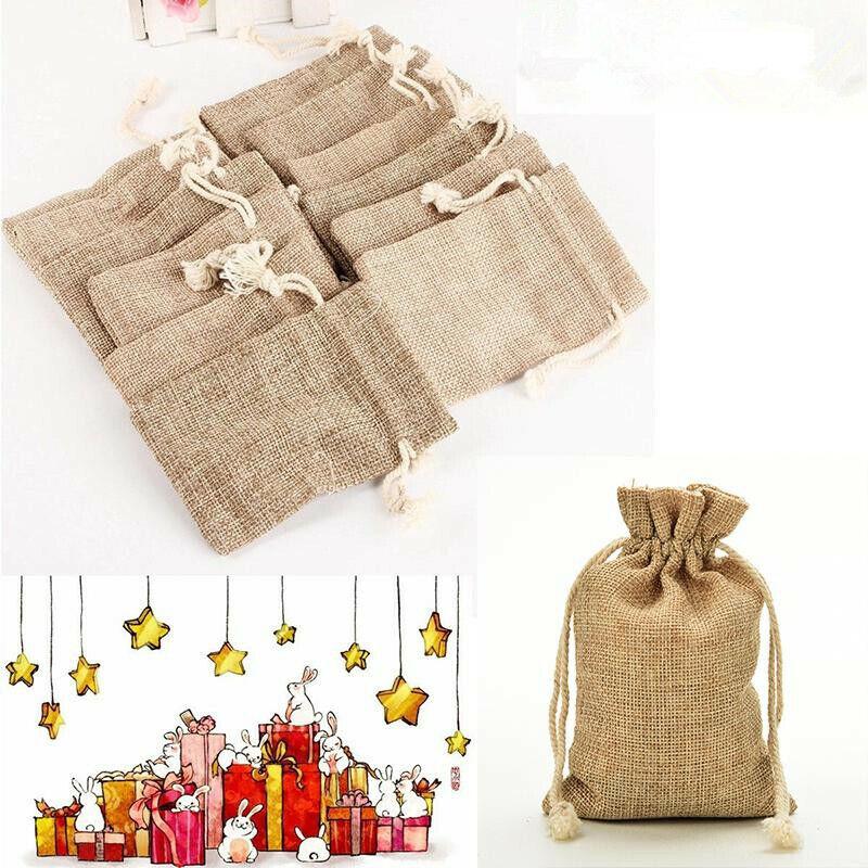 10 Pcs Jute Bags 8 x 10 cm Jute Bag Gift Jewellery Wedding Sachet Bags