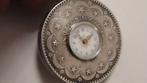 Aktiv MÜnzuhr Taschenuhr Silber 20 Kurush 1877 Türkei Extrem Seltene Uhr ! Rar ! Kataloge Werden Auf Anfrage Verschickt