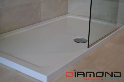 Slimline 40mm 1000x760 DIAMOND Stone Shower Enclosure Tray Rectangle Free Waste