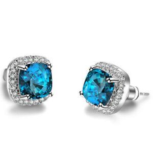 Special-Gift-London-Blue-Topaz-Gemstone-Silver-Lady-Stud-Hook-Earrings-New