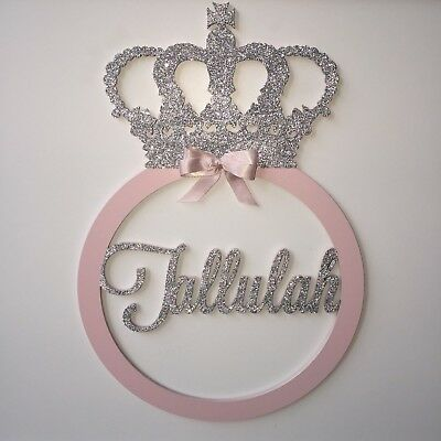 New Baby Boy Girl Nursery Personalised  Wooden Bedroom Crown Babyshower Gift