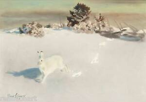 Winter Landscape with Fox  by Bruno Liljefors   Giclee Canvas Print Repro