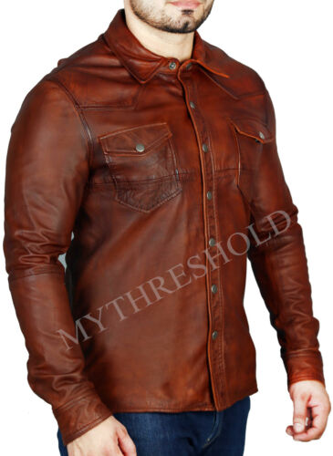 New Mens Shirt Jacket Brown Real Soft Genuine Waxed Leather Shirt