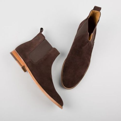 MEN HANDMADE BROWN BOOTS SUEDE LEATHER CHELSEA CUSTOM MADE Schuhe FOR MEN