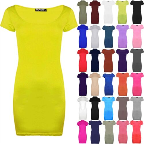 Womens Ladies Plain Short Cap Sleeve Stretchy Bodycon Mini Dress Top Plus Size