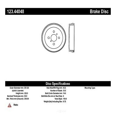 Centric 123.44048 Rear Brake Drum