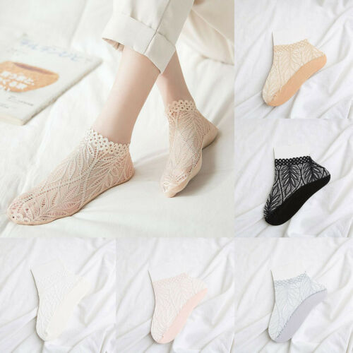 Vogue Women Girls Summer Style Lace Flower Soft Short Sock Antiskid Socks