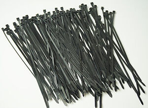 "11"" LONG BLACK 50 LB UV RESIST ( 300 PCS ) HEAVY DUTY CABLE ZIP TIES WRAPS USA"