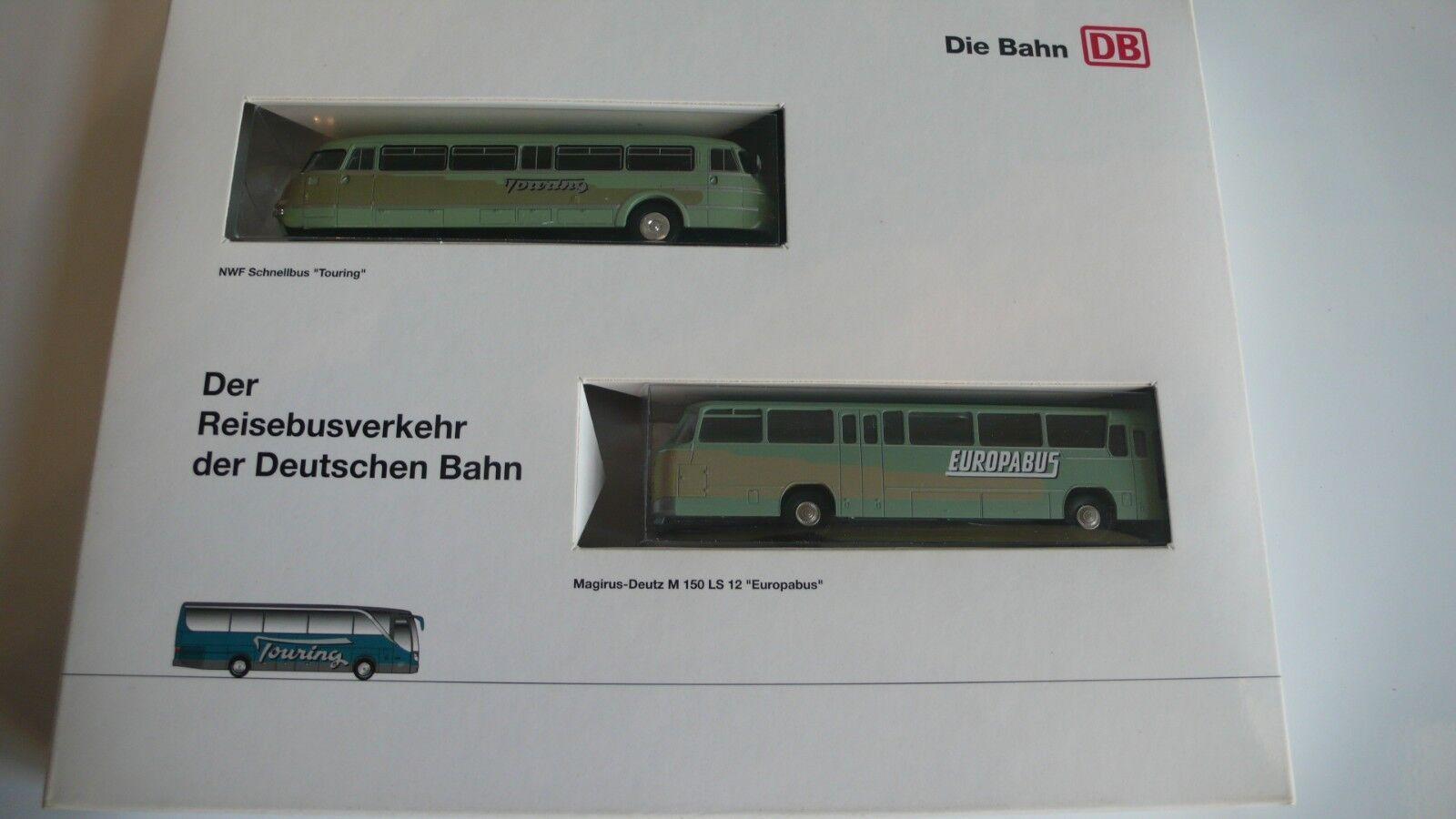 Brekina Bus-Set Reisebusverkehr der der der Deutschen Bahn Magirus-Deutz, Neu im OVP  | Economy  02d610