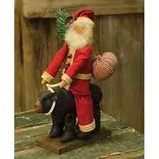"New Primitive Country Folk Art Rustic Cabin SANTA RIDING BLACK BEAR Doll 12"""