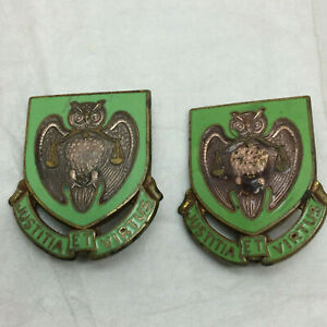 Details about 2 Vintage Enamel Pins Justitia ET Virtus Owls Military Police