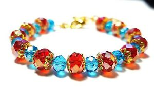 Red-Turquoise-Gold-Crystal-Bracelet-Morrocan-Southwest-Turquoise-Indian-Bohemian