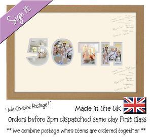50th Birthday Golden Wedding Anniversary Guest Signing Word Photo Frame Ebay