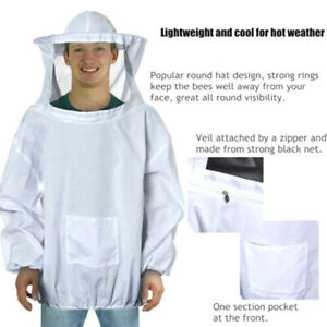 Beekeeping Jacket Veil Bee Keeping Suit Hat Pull Over Smock Equipment White