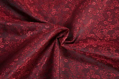 Forro de tela Taft flores rojo oscuro 0,5m