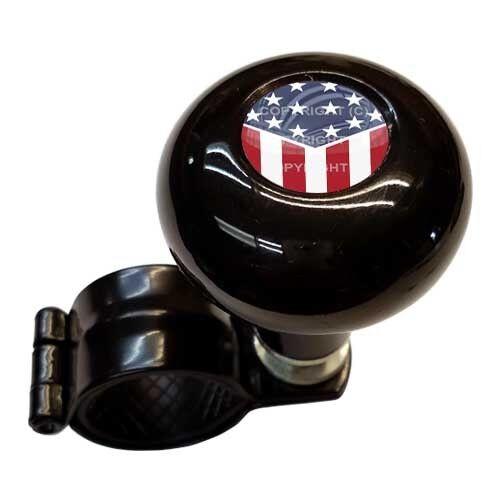 USA AMERICAN FLAG SLANT Black Steering Wheel Suicide Spinner Handle Knob Truck