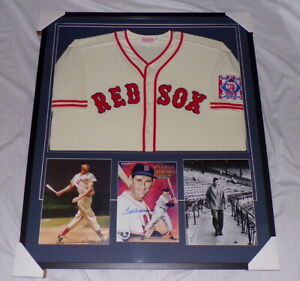 Ted-Williams-Signed-Framed-34x39-Jersey-amp-Photo-Display-Upper-Deck-Red-Sox