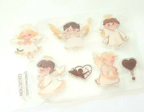 CHRISTMAS ANGELS CLEAR STAMPS-XMAS STAMP-LOVE HEARTS-CUTE CARTOON-HEART//CUPID