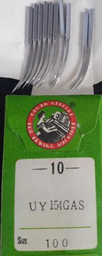 10 Stück Industrienähmaschinennadeln Organ Needle Canu 06:60 Nm 100 - UY 154 GAS