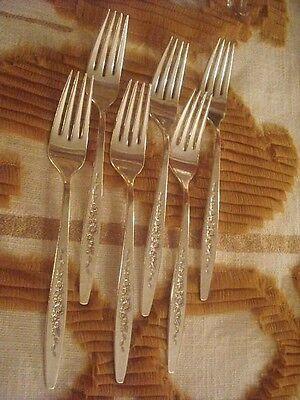 INTERNATIONAL DEEP SILVER SILVERPLATE LAUREL MIST SIX  dinner forks