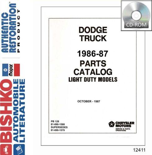 1986 1987 Dodge Light Duty Truck Parts Numbers List Guide CD Catalog Interchange