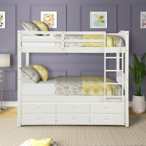 Solid-Wood-Bunk-Bed-Twin-Over-Twin-Bunk-Bed-with-Trundle-and-Staircase-WHITE