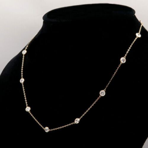 By Yard Station Necklace 3.00tcw Created Diamond 14k Yellow Gold Bezel Chain 18/""