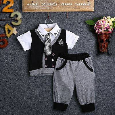 2PC Cotton Baby Boy Summer Clothes T Shirt And Short Pants Outfits Gentleman2-6Y