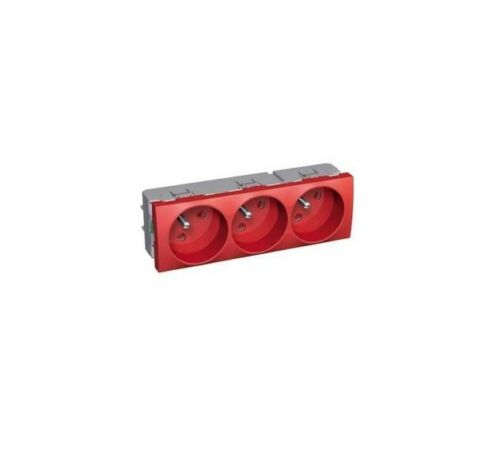 bloc prises courant 2P+T fixes 3P 16A Schneider ALB45234 Altira rouge à