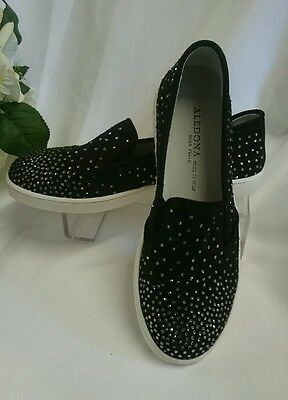 DAMEN SCHUHE Slipper GR 41 MADE IN ITALY Mokassins LEDER Schwarz Strasssteine